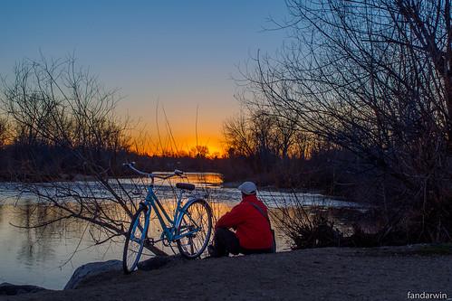 park winter sunset bicycle river fan darwin olympus idaho boise marianne omd bluemoon 1445 em10 fandarwin