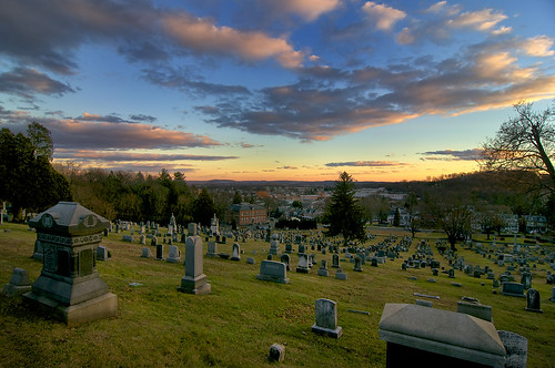 sunset clouds view dusk pennsylvania cemetary vista hillside tombstones fairviewcemetary boyertown boyertownpennsylvania fairviewcemetaryboyertownpennsylvania