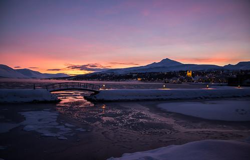 bridge winter sunset sea sun mountain mountains colors clouds iceland twilight akureyri súlur littlebridge pollurinn