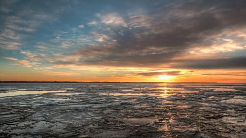 winter sunset sky sun ny newyork seascape cold ice water clouds canon eos bay li frozen january longisland hdr 2015 greatsouthbay photomatix efs1022 70d