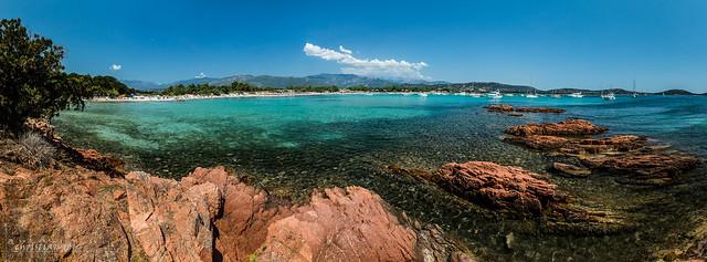 Panorama de la baie de San Ciprianu (Corse, France)