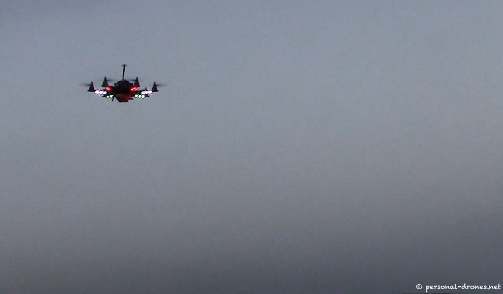 Flying hexacopter drone on dawn mission | Mini multirotor