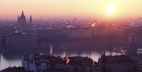 city morning sun colour church sunrise river dawn early hungary smoke budapest duna danube fume hajnal reggel