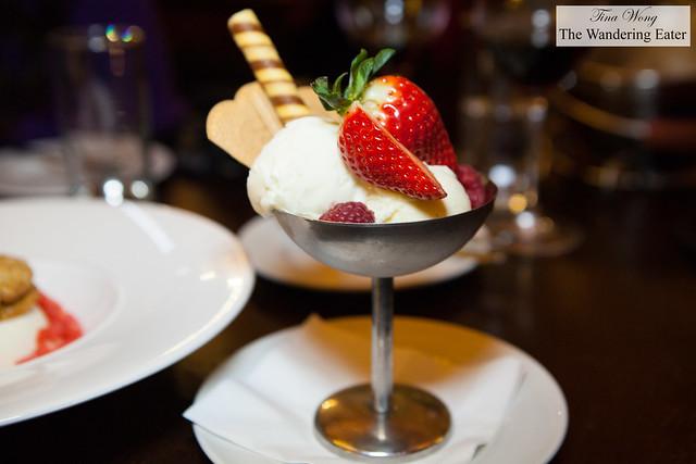 Scoops of vanilla and truffled honey ice cream