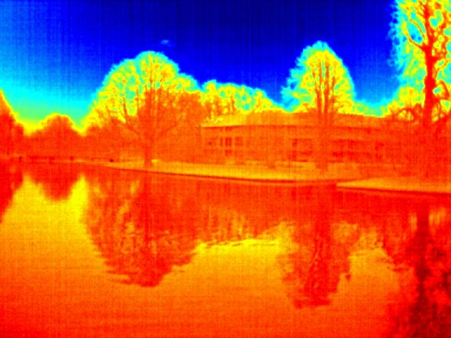 Reflected skyline, thermal image