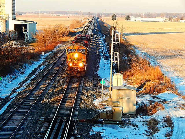 BNSF passing under the S.R. 15 overpass at Milford Indiana