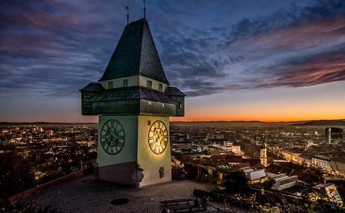 light sunset sky clock strange clouds dawn evening österreich twilight nikon time landmark clocktower graz hdr styria d800 abendrot wahrzeichen artificiallighting uhrturm