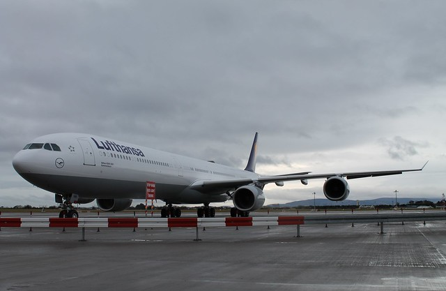 A Lufthansa Airbus A340-600 sits on the West Apron at Dublin Airport.