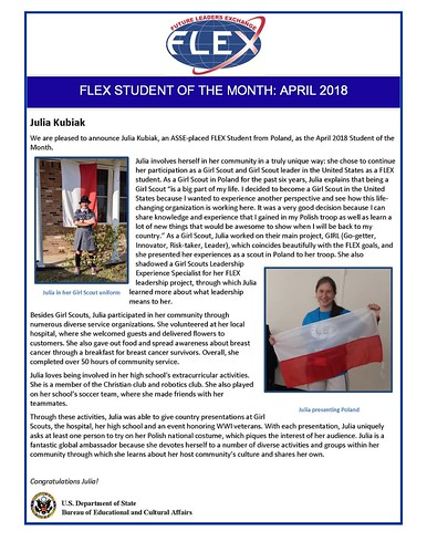Congratulations to the April 2018 FLEX Student of the Month, Julia from Poland!   by FLEXprogram