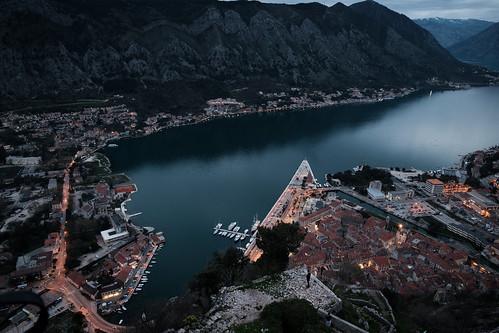 lights night fujixpro2 kotor travel old bay balkan city montenegro europe town mountain opštinakotor me