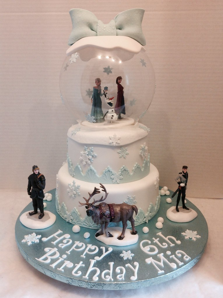 Wondrous Frozen Snow Globe Birthday Cake Liz Flickr Birthday Cards Printable Nowaargucafe Filternl