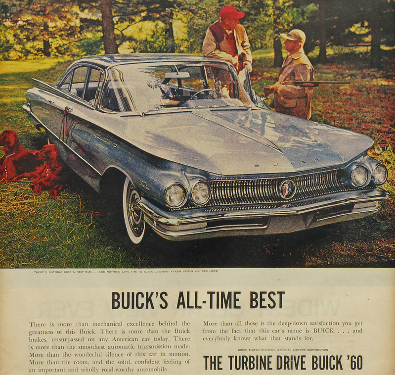 CM067 Buick 1960 Car Ad with Hunters and Dogs Framed DSC04146 crop