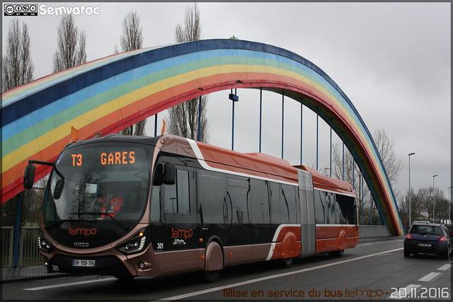 Iveco Bus Créalis 18 GNC - Setram (Société d'Économie Mixte des TRansports en commun de l'Agglomération Mancelle) n°301