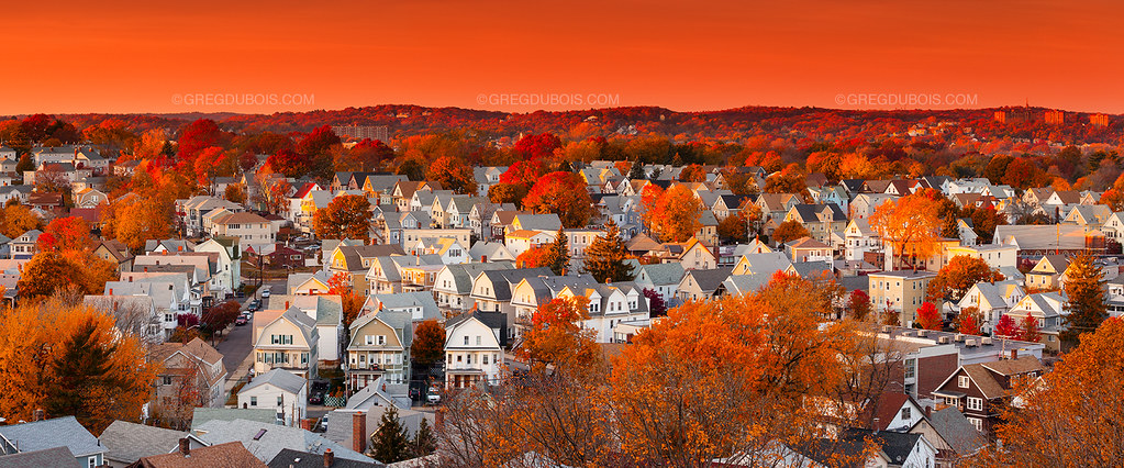 Boston Suburbs with Peak Fall Color during Golden Hour, Ev