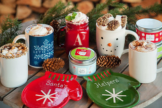 personalized mugs with hot cocoa recipes in them as well as mitten plates | by PersonalCreations.com