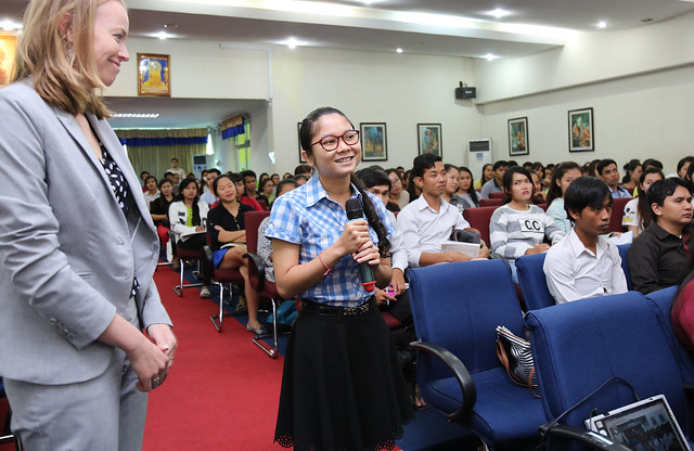 The United States' senior diplomat for Asia encouraged young Cambodians to sign up for the Young Southeast Asian Leaders Initiative and to visit the United States during a special Town Hall event today hosted by the American Corner Cambodia - PUC.