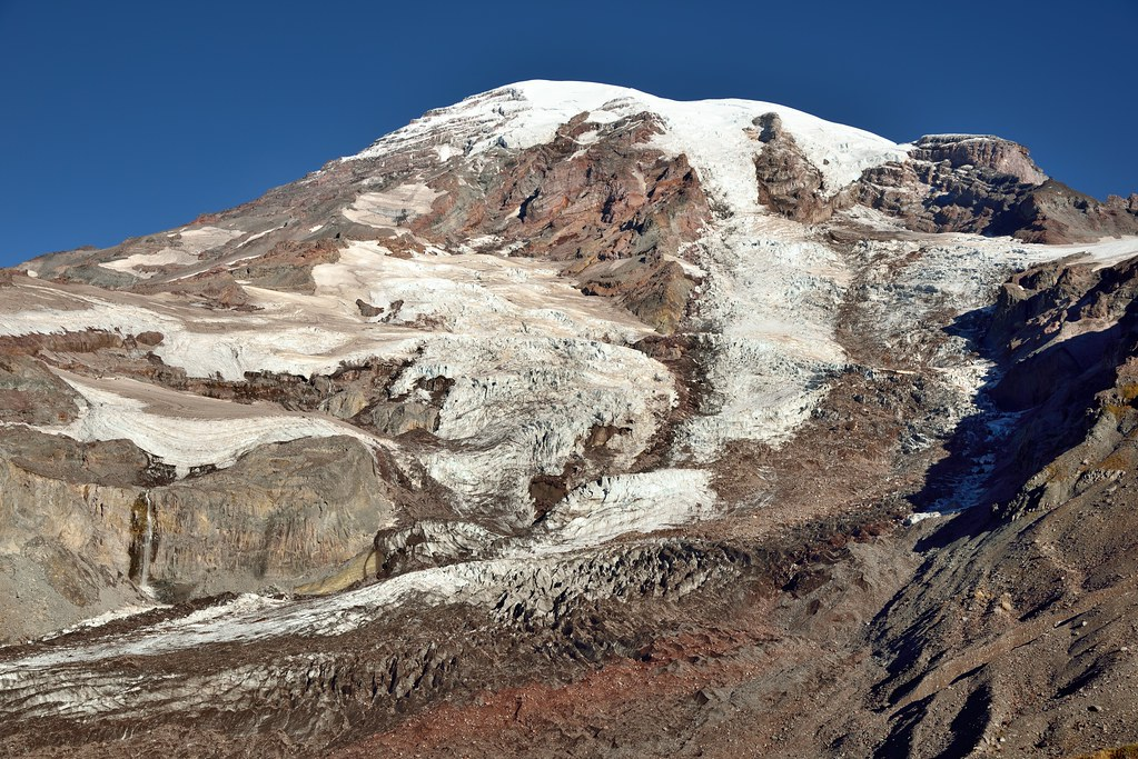 The Flow of the Nisqually Glacier and Other Glaciers Down the Side of Mount Rainier