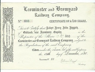 Leominster and Bromyard Railway Share Certificate 1880 | by ian.dinmore