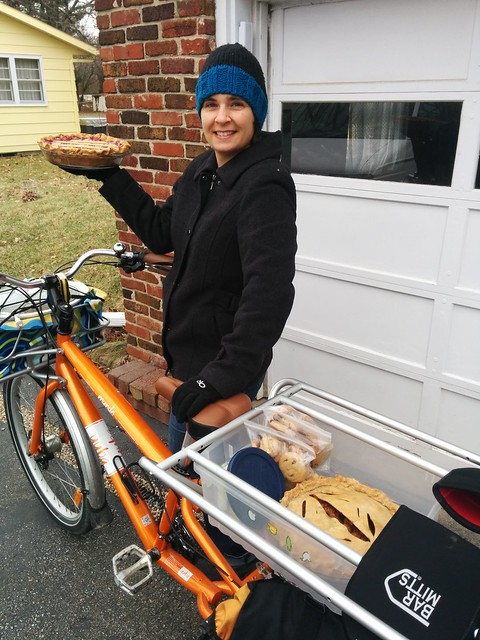 Rubbermaid Storage bin as cargo bike pie holder