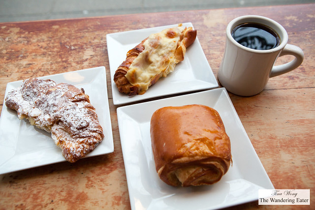 Almond croissant, chocolate croissant, and ham and cheese croissant and a Chemex of Indonesian coffee