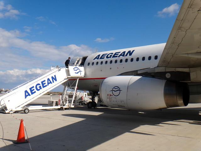 Aegean Air Airbus 320 at Santorini Airport