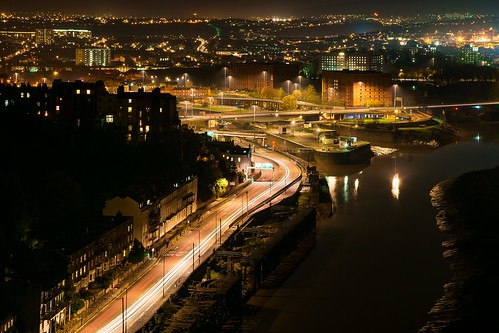 from road uk bridge england night river bristol landscape lights nightscape suspension clifton