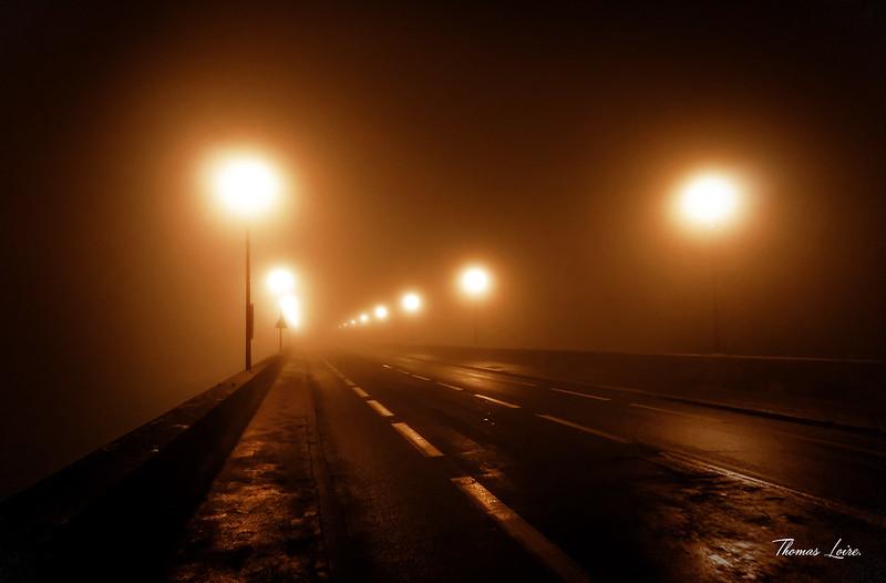 Brouillard sur le Pont Cessart à Saumur