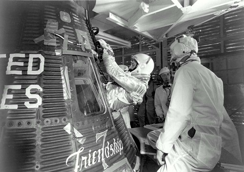 John Glenn enters his Friendship 7 capsule   by NASA on The Commons