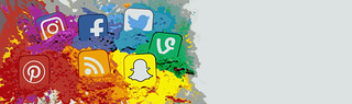 Social Media Icons Color Splash Montage - Banner | by Visual Content