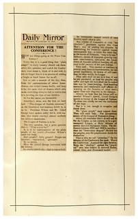 Newspaper Cutting - Paris Peace Conference - 1919
