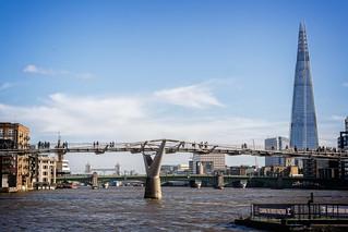 Millennium Bridge and Shard | by garryknight