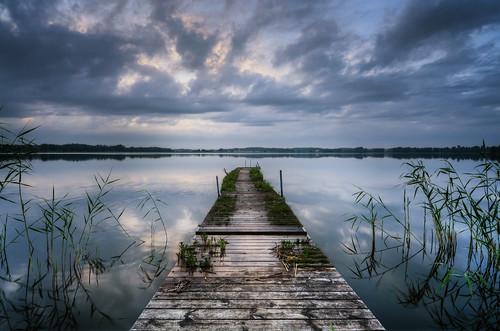 wood sky lake reed nature clouds reflections landscape wooden moss scenery shadows midsummer cloudy sweden stockholm horizon boardwalk ripples sverige decrepit hdr waterscape midsummerseve vallentuna vallentunasjön
