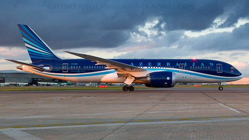 vpbbr j2 ahy azerbaijan azerbaijanairlines lhr egll london heathrow eveninglight evening sunset dusk ramp aviation airplane aircraft airliner dreamliner b787 b788 clouds widebody plane jet jetliner airport airside arrival apron boeing 787 7878