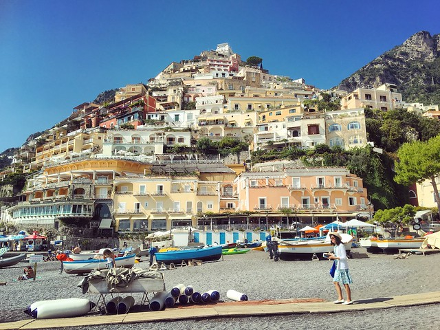 On the beach in Positano.