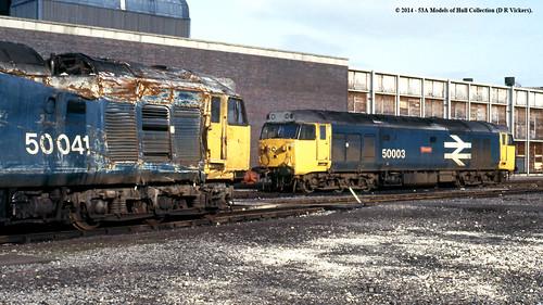 train diesel railway works britishrail doncaster southyorkshire bulwark brel class50 temeraire 50003 50041