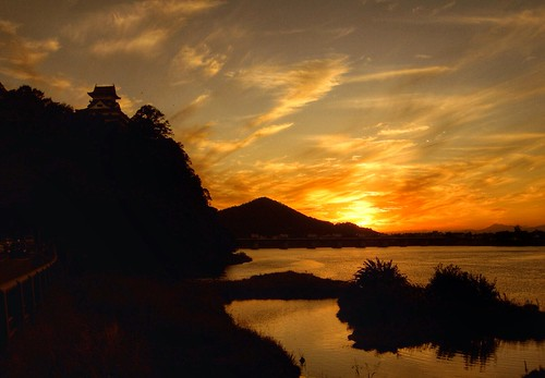 sunset castle japan