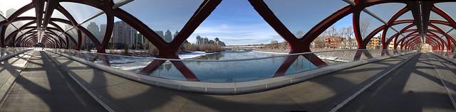 Horizontal internal pano Peace Bridge Calgary