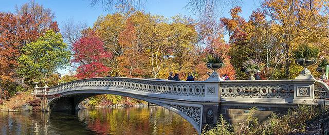 Fall Colors on Bow Bridge, Central Park, Manhattan, New York, USA.