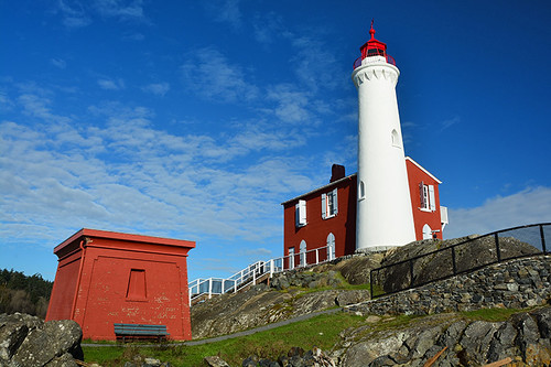 Fisgard Lighthouse in Fort Rodd Hill National Historic Site, Colwood, British Columbia, Canada