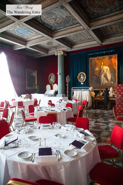 Interior of the private dining room complete with original portrait painting of Louis XIV