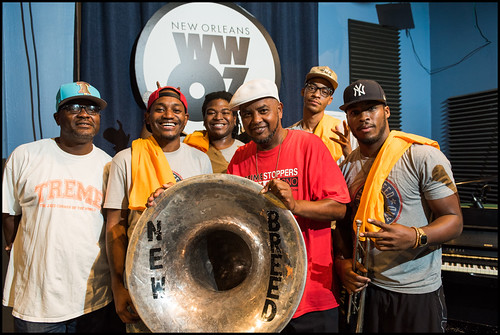New Breed Brass Band: Terence Houston (bass drum), Desmond Provost (sousaphone), Caleb Windsay (trombone), WWOZ's Action Jackson, Jenard Andrews (snare), Gregory Warner (trumpet), during WWOZ 2016 Fall Drive. Photo by Ryan Hodgson-Rigsbee - rhrphoto.com