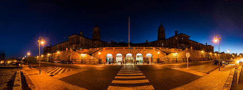 pretoria panorama panoramic night exposure nikon garden road sun sunset pano president jacob zuma 5500 johannebsurg color colours colors street lights architecture historical palace sky blue dawn dusk interesting very long stops leica outdoor nelsonmandela southafrica unionbuilding