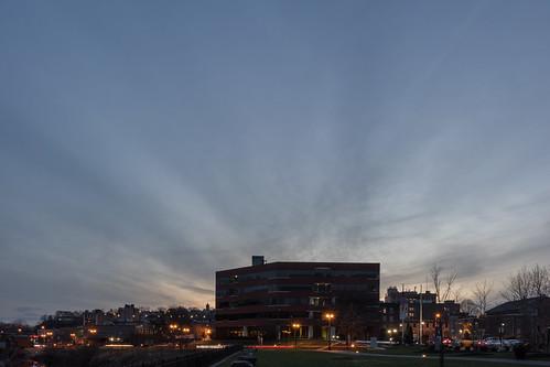 bankofamericafinancialcenter bankofamericafinancialcentereaston easton pennsylvania building clouds dusk night sky sunset unitedstates us