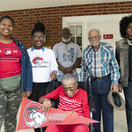 For her 99th birthday, Josephine Smith Stevens %u201942 got her wish: to visit her alma mater. Josephine Stevens was on campus on Thursday with her husband, John Stevens, and godchildren, Deborah Peterson and Michael Williams. WSSU students gave her a tour.