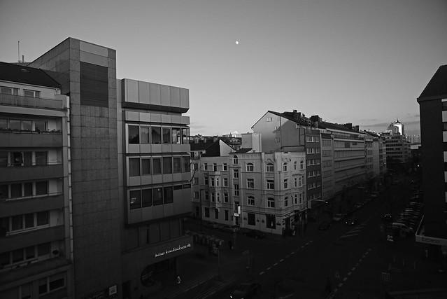 daytime moon over Düsseldorf