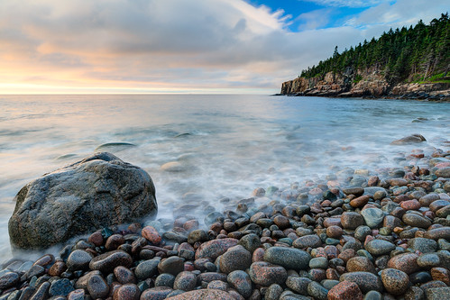 cliffs maine acadia acadianationalpark pebble beach ocean water sunrise trees sky longexposure pebblebeach ottercliffs clouds colors sony sonya99 zeiss1635