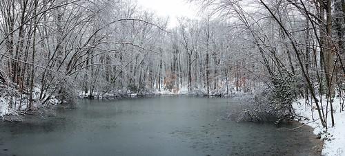 park trees winter panorama snow ny newyork water pond woods stitch westchestercounty southsalem lewisboro microsoftice microsoftimagecompositeeditor sonydscrx100 onatrupreserve