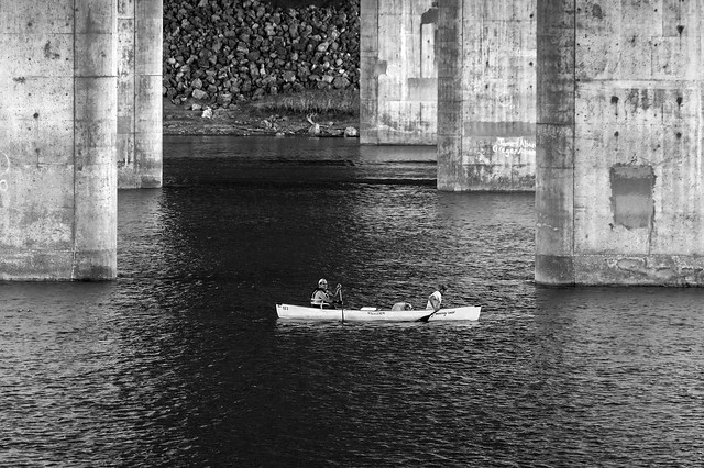Canoeists Under Freeway Bridge