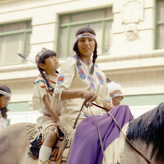 First Nations girls riding in the Calgary Stampede Parade