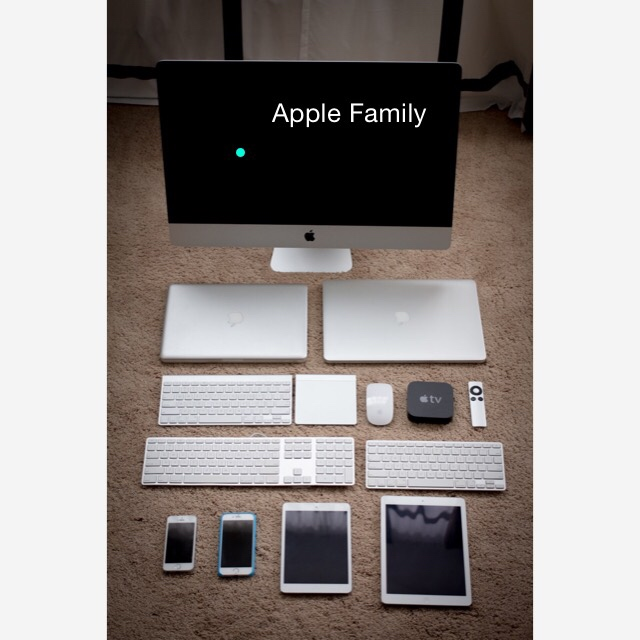 My Apple Family  从上往下从左往右:iMac, Macbook Pro 13